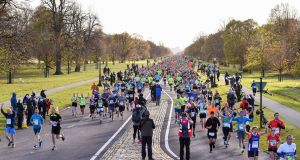 A general view of runners in the Phoenix Park during the 2018 SSE Airtricity Dublin Marathon. Photograph: Sam Barnes/Sportsfile