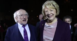 Michael D Higgins and his wife Sabina arrive at Dublin Castle for the count. Photograph: Niall Carson/PA Wire