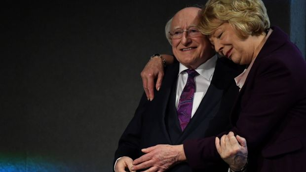President Michael D Higgins is congratulated by his wife Sabina Higgins during the announcement of the results in Dublin Castle on Saturday. Photograph: Clodagh Kilcoyne/Reuters