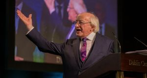 President Michael D Higgins speaking in  Dublin Castle on Saturday after he was re-elected. Photograph: Collins