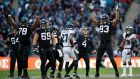 Jacksonville Jaguars celebrate as  Josh Lambo kicks a field goal in their clash with the Philadelphia Eagles at Wembley Stadium. Photograph: Action Images via Reuters/Andrew Boyers
