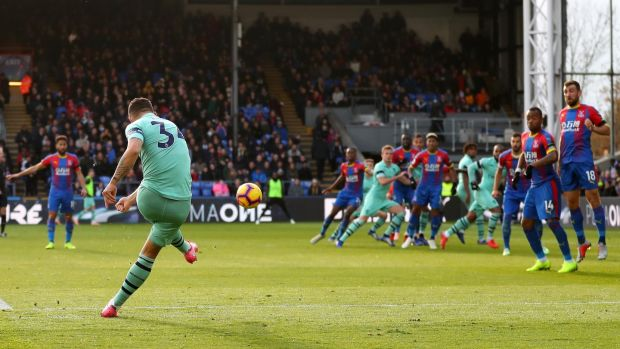 Granit Xhaka scores Arsenal's equaliser against Palace. Photograph: Catherine Ivill/Getty