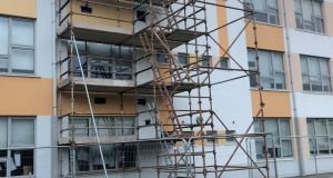 "Scaffolding at Tyrrelstown Educate Together school in Dublin, which was closed due to concerns over ""significant structural issues"". Photograph: Cate McCurry/PA Wire"