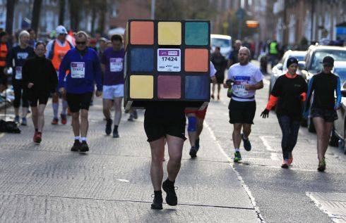 Donal Traddyn as a Rubik's Cube in Dublin Marathon on Sunday, October 28th.  Photograph: Nick Bradshaw/The Irish Times