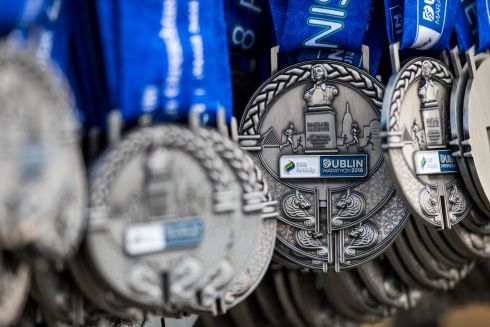 A general view of Dublin Marathon finisher medals. Photograph: Bryan Keane/INPHO