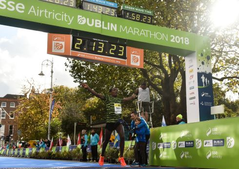 Asefa Bekele of Ethiopia crosses the line to win the 2018 SSE Airtricity Dublin Marathon. Photo by EOin Noonan/Sportsfile