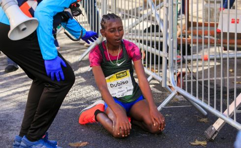 Winner of the Womens Dublin Marathon Mesera Dubiso. Photograph: Gareth Chaney/Collins