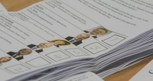Presidential election ballot papers at the Convention Centre, Dublin. Photograph: Gareth Chaney/Collins