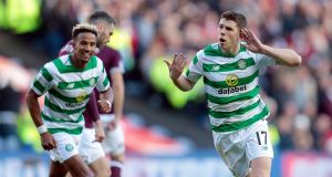 Ryan Christie celebrates scoring Celtic's third against Hearts. Photograph: Graham Stuart/PA