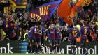 Barcelona celebrate their 5-1 win over Real Madrid at the Camp nou. Photograph: Toni Albir/EPA