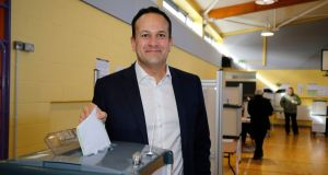 An Taoiseach Leo Varadkar TD  casts his vote at Scoil Thomáis, Laural Lodge, Castleknock, Dublin. Photograph: Nick Bradshaw for The Irish Times