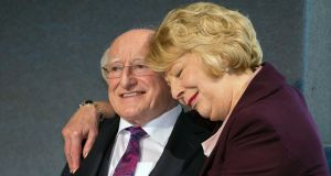 President Michael D Higgins and his wife, Sabina, at Dublin Castle on Saturday. Photograph: Tom Honan