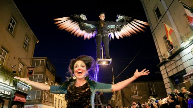 The Macnas Halloween parade, Out of the Wild Sky, passes through Galway city centre on Sunday evening. Photograph: Joe O'Shaughnessy