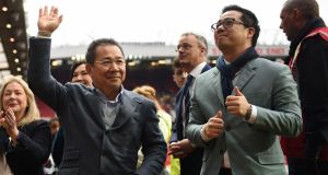 Leicester City's  owner Vichai Srivaddhanaprabha and his son Aiyawatt  Srivaddhanaprabha:   the Thai billionaire is believed to have been one of the passengers who died in Saturday night's helicopter crash at the King Power Stadium. Photograph: Oli Scarff/AFP/Getty Images