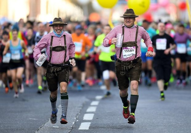 Sven Peemoeller and Jens-Peter Wrage from Germany during the 2018 Dublin Marathon.