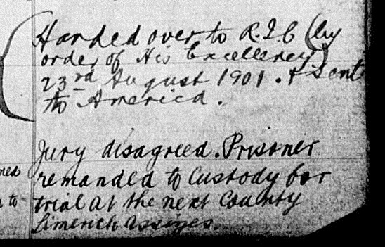 From John Sullivan's entry in the Prison Registers