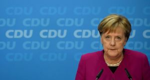 German Chancellor Angela Merkel speaking during a press conference in Berlin on Monday. Photograph: Clemens Bilan/EPA