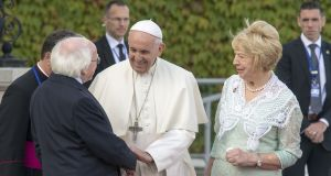 His Holiness Pope Francis with President Michel D. Higgins and his wife Sabena at Áras An Uachtaráin. Photograph: Dave Meehan/The Irish Times