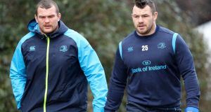 "Leinster's Jack McGrath and Cian Healy ""It's peculiar, two top-quality looseheads fighting for the one position in the same club."" Photograph: Oisin Keniry/Inpho"