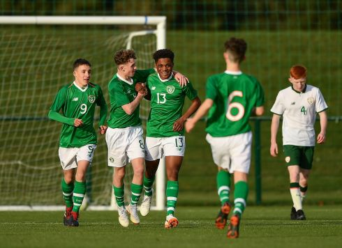 SQUAD GOALS: Glory Nzinga (13), of the Republic of Ireland U15 squad, celebrates after scoring his side's second goal during their match against the U16 squad, in Dublin. Photograph: Seb Daly/Sportsfile