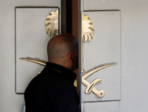 KHASHOGGI INVESTIGATION: A member of security stands at the entrance to Saudi Arabia's consulate in Istanbul, Turkey. Photograph: Osman Orsal/Reuters