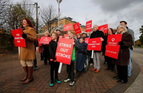 HOSPITAL PROTEST: The Heart Foundation holds a protest at Beaumont Hospital over services at the centre, to mark World Stroke Day. Photograph: Nick Bradshaw/The Irish Times
