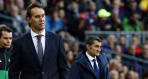 Julen Lopetegui has been sacked as Real Madrid coach after a 5-1 defeat to Barcelona on Sunday. Photograph:  Toni Albir/EPA