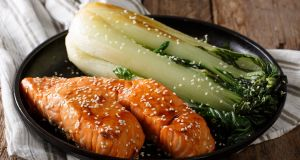 Salmon steaks take on an Asian flavour with the addition of soya and sesame