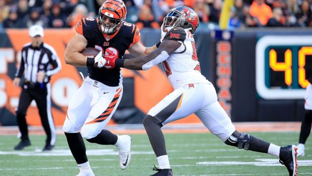 Matt Lengel is tackled by Jason Pierre-Paul during the Cincinnati Bengals' win over the Tampa Bay Buccaneers. Photograph: Andy Lyons/Getty