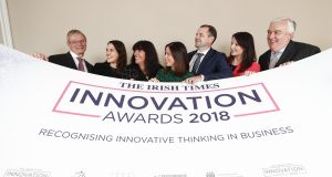 Irish Times Innovation Awards final-round judges (from left): Chris Horn of Atlantic Bridge; Iseult Ward of Foodcloud; Jackie Glynn of Three; Fiona McElroy of Ulster University; Barry Lunn former overall Innovation award winner with Arralis; Lana Briggs of KPMG; and Pat Gibbons of UCD Michael Smurfit School of Business. Photograph: Conor McCabe