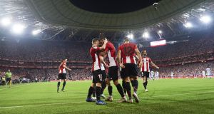 Iker Muniain of Athletic Bilbao celebrates after scoring during the Basque derby against Real Sociedad earlier this month. Photo: Juan Manuel Serrano Arce/Getty Images