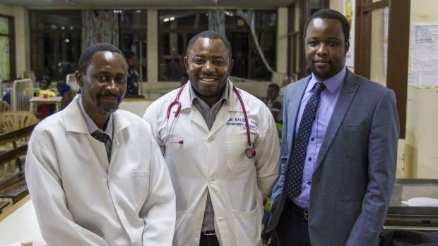 (L-R) Dr Bruce Bvulani, Dr Seith Kalota and Dr Mulenga Mulewa at University Teaching Hospital, Lusaka