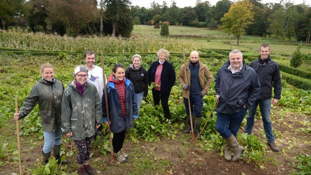 The team of gardeners who grow fruit and veg at Virginia Park Lodge for Corrigan's London restaurants.