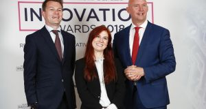 The BidX1 team of director Jonathan Fenn, marketing manager Nicole Pomeroy and chief financial officer Mike Murphy, at The Irish Times Innovation Awards judging day. Photograph: Conor McCabe