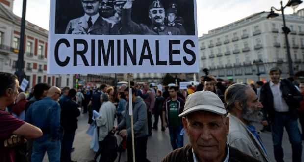 A placard displaying pictures of Franco and Hitler during a rally in  Madrid 1cb1baf2ef75a