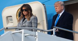 US president Donald Trump and First Lady Melania Trump arrive at Pittsburgh after the shooting at the city's Tree of Life synagogue. Photograph: Saul Loeb/AFP/Getty