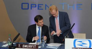 Chief executive of Smurfit Kappa Group Tony Smurfit (left)  and chairman Liam O'Mahony. Photgraph: Aidan Crawley