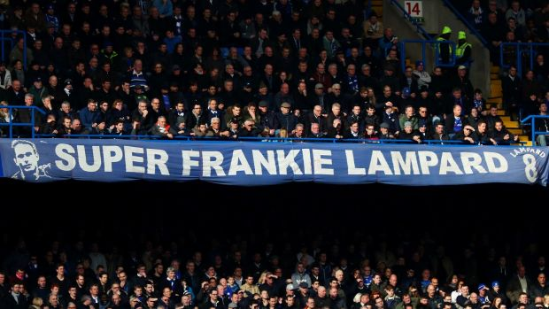 The Frank Lampard banner which adorns the Matthew Harding Stand at Stamford Bridge. Photograph: Clive Rose/Getty