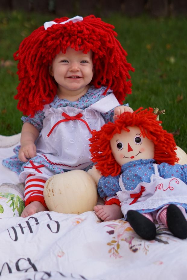 Natasha O'Neill's first halloween, dressed up in her handmade Raggedy Ann costume. Does this mean double treats and double sweets?