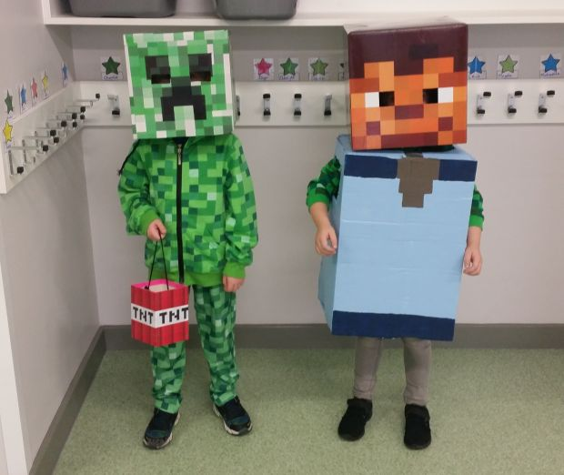 Kevin Rave as a Creeper from the video game Minecraft together with his best friend M.P. dressed as the player character Photograph: Gosia Konior