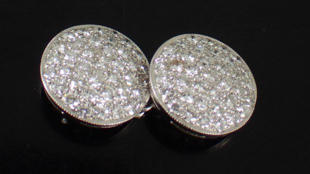Diamond-set cufflinks (€3,300–€3,800) at John Weldon