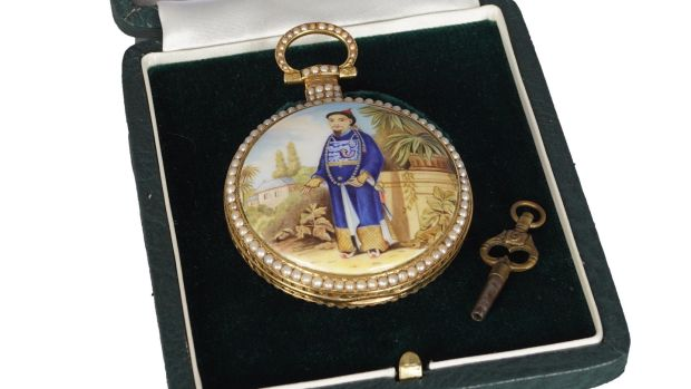 Lot 60, Chinese enamel-and-gold pocket watch