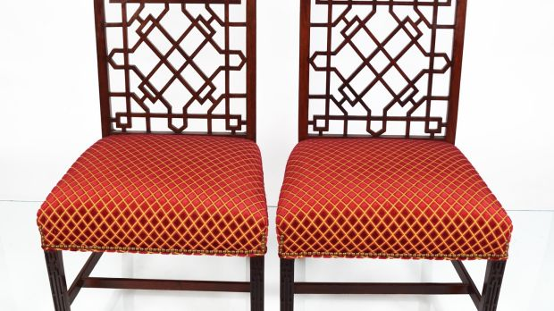 Lot 16, pair of Chippendale side chairs