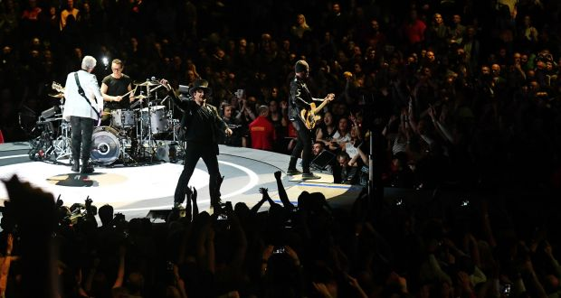 U2 performing at the SSE Arena in Belfast. Photograph:  Colm Lenaghan/Pacemaker