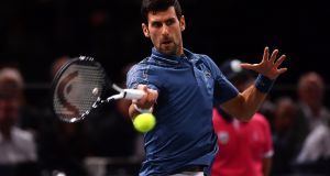 Novak Djokovic of Serbia plays a forehand during his second round match against Joao Sousa of Portugal during Day 2 of the Rolex Paris Masters. Photo: Justin Setterfield/Getty Images