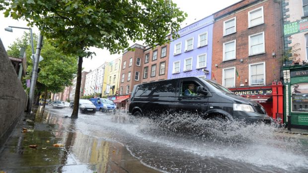 Flooding along Bachelors Walk, Dublin. Photograph: Dara Mac Dónaill/The Irish Times