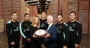 Ulster Rugby players Darren Cave, Sean Reidy, Jacob Stockdale, Wiehahn Herbst and Rob Herring with Fiona Hampton, Ulster Rugby's head of sales and marketing, and Kingspan managing director Pat Freeman. Photograph: Darren Kidd/Press Eye