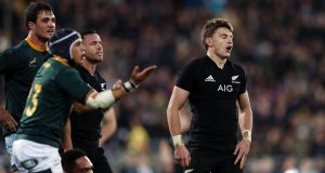 All Blacks' Beauden Barrett   reacts during  the match  against the Springboks at Westpac Stadium on September 15th, 2018 in Wellington, New Zealand. Photograph: Anthony Au-Yeung/Getty Images