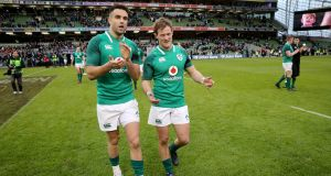 Conor Murray and Kieran Marmion: the Connacht scrumhalf   has had the misfortune of being an unused replacement on six occasions for Ireland. Photograph: Ryan Byrne/Inpho