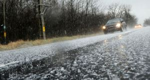 A number of serious crashes have already been blamed on what Transport Infrastructure Ireland called 'narrow bands of hail' in the west of the country. Photograph: iStock